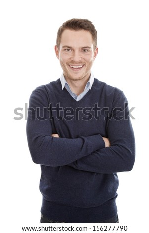 Young caucasian man standing with arms folded- isolated over white background