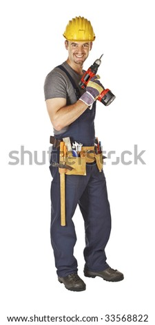 young caucasian manual worker smile and hold red drill tool