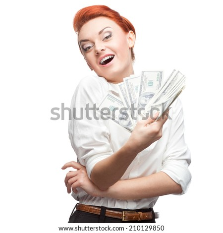 young caucasian red-haired admiring business woman holding money isolated on white