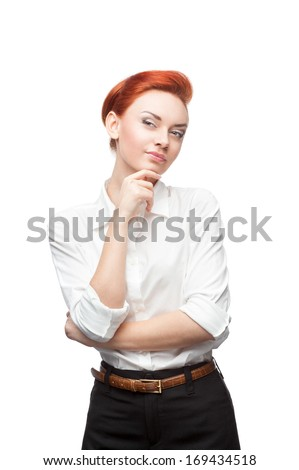 young caucasian red-haired thoughtful business woman isolated on white - stock photo