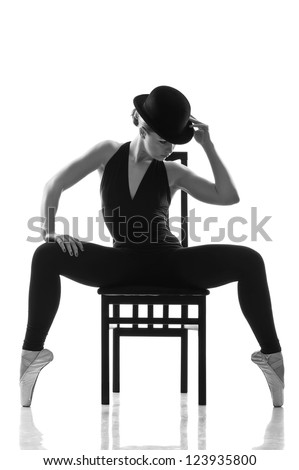 young caucasian woman ballet dancer in silhouette. Isolated over white - stock photo