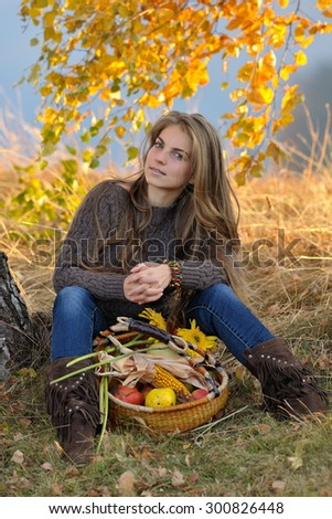 young caucasian woman outdoor in autumn - stock photo