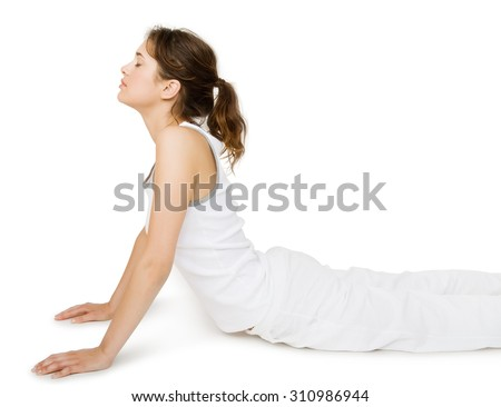 Young Caucasian woman practicing yoga. Healthy lifestyle isolated over white background.