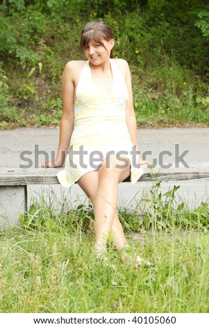 Young caucasian woman resting in park