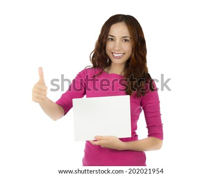 Young caucasian woman with a blank board. Smiling young caucasian woman is holding a blank white board and showing thumb up.