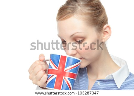 Young Caucasian woman with a cup of England