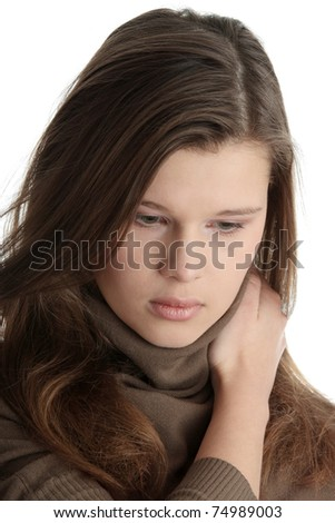 Young caucasian woman with depression