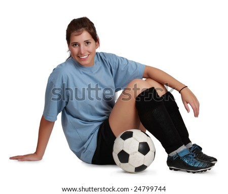 young caucasian woman with soccer ball