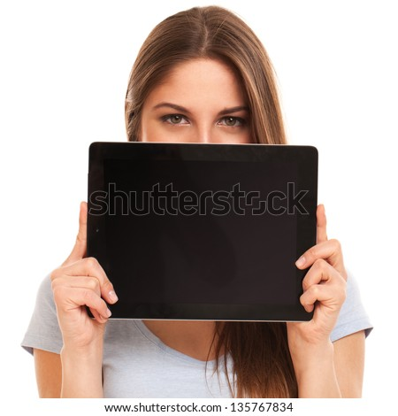 Young caucasian woman with tablet PC over white background - stock photo