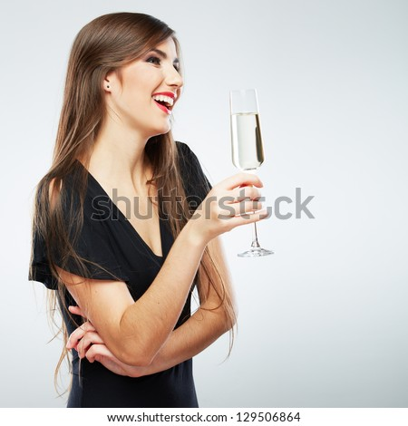 Woman holding a glass of wine stock images royalty free images young celebrating woman black dress beautiful model portrait isolated over studio background hold wine glass ccuart Gallery