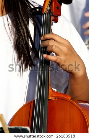 young cellist closeup
