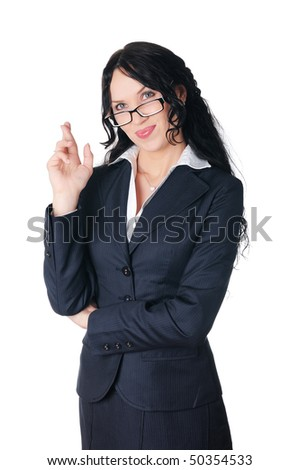young charming brunette in a business suit with glasses
