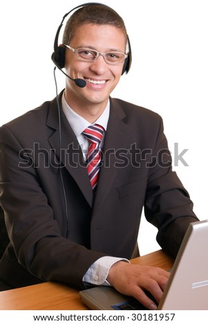 Young charming confident men with headset and notebook