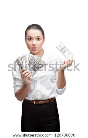 young cheerful caucasian brunette businesswoman in white blouse holding money with surprised expression isolated on white - stock photo