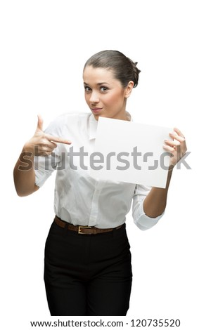 young cheerful caucasian brunette businesswoman in white blouse holding sign isolated on white - stock photo