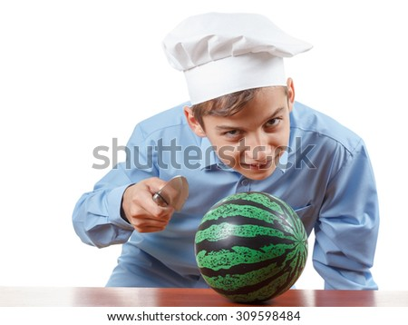 Young cheerful teenager laugh loud and humor in a chef's hat. Isolated on white - stock photo