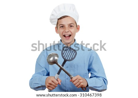 Young cheerful teenager with a ladle and humor in a chef's hat. Isolated on white - stock photo