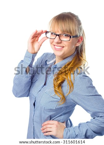 Young cheerful woman business lady