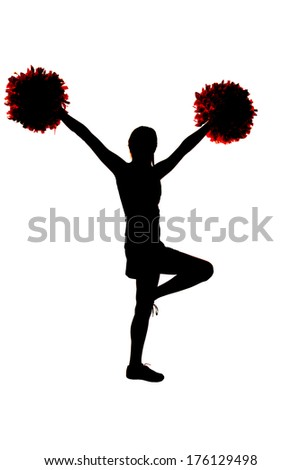 Young cheerleader silhouette with hands in air