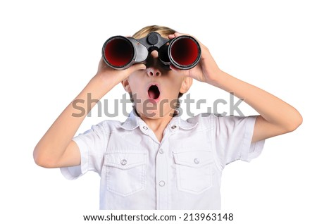 young child boy with binocular on white background - stock photo