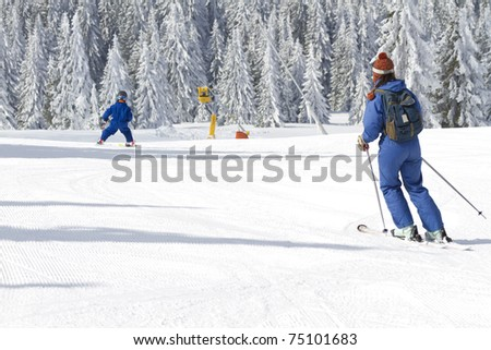 young child learning to ski
