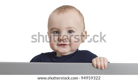 young child looking to camera. isolate on white background