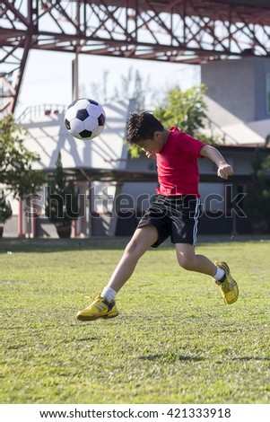 young child play soccer ball in green grass field, kid athlete with jersey training football in sunny outdoor park - stock photo