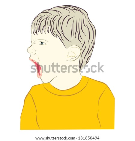 young child screaming with angry face expression - stock photo