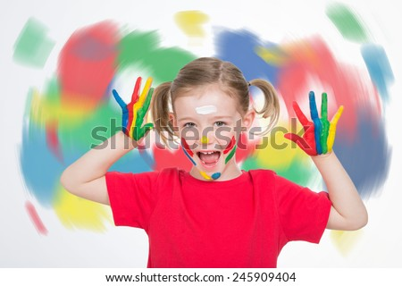 young child with a twister of colors behind her screaming
