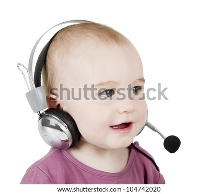 young child with headset isolated on white background