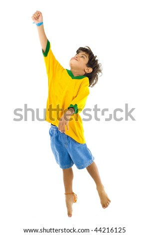 Young Child with Yellow brazil T-shirt - stock photo
