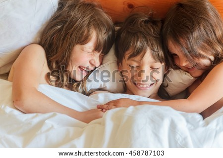 young children boy girls sleeping bed stock photo ForBoys And Girls In Bed