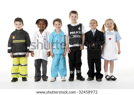 Young Children Dressing Up As Professions - stock photo