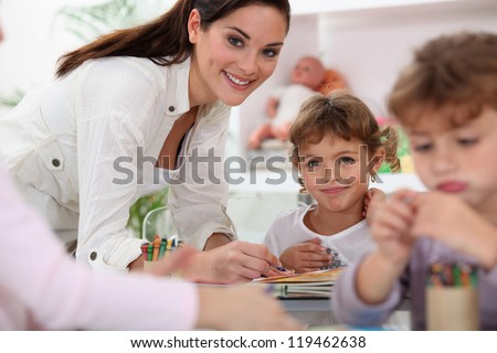 Young children in classroom - stock photo