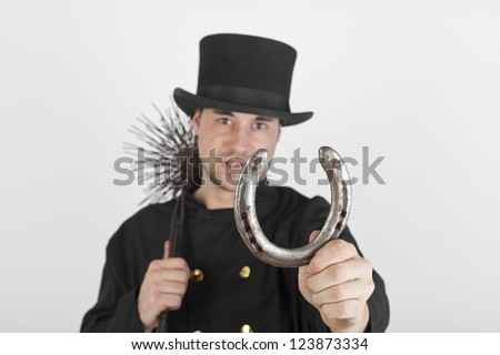 Young chimney sweep - stock photo