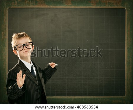 young clever scientist children students write on  blackboard