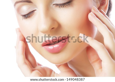 young closing eyes woman's face