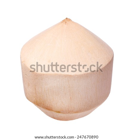 young coconut isolated on white background - stock photo