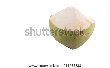 Young coconut over white background