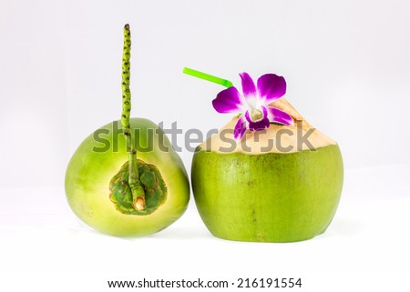 Young coconut water for serving on white background