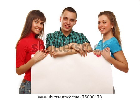 Young college friends holding a blank