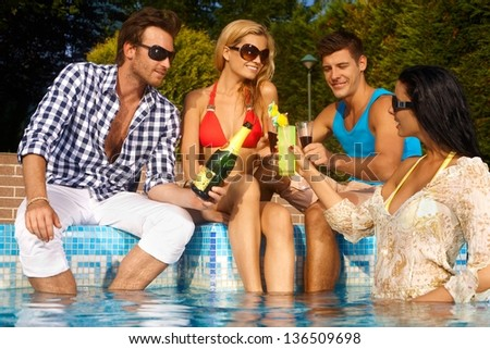 Young companionship on summer holiday. - stock photo