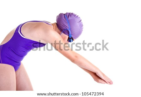 young competitive swimmer in dive pose, isolated on white - stock photo