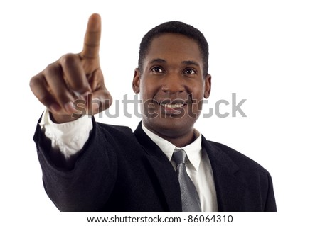 Young & Confident African American Business Man touching an imaginary screen isolated white background - stock photo