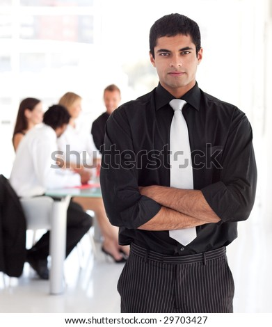 Young Confident and attractive business leader - stock photo