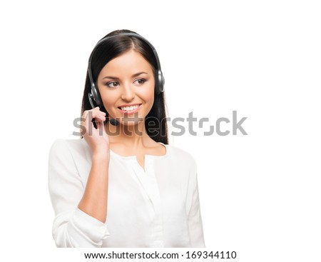 Young, confident and beautiful customer support operator isolated on white - stock photo