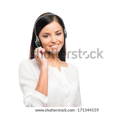 Young, confident and beautiful customer support operator isolated on white