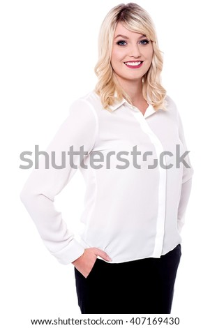 Young confident business woman posing in style - stock photo