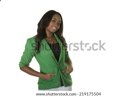 Young confident business woman wearing a green jacket isolated on white - stock photo