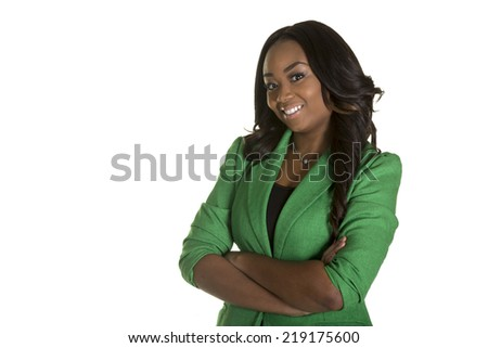 Young confident business woman wearing a green jacket isolated on white